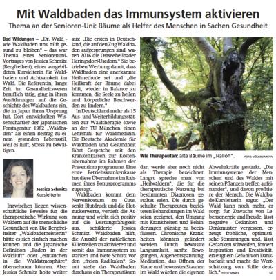 Presseartikel Waldbaden Immunsystem Aktivieren